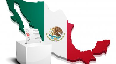 detailed illustration of a ballotbox in front of a map of Mexico, eps10 vector