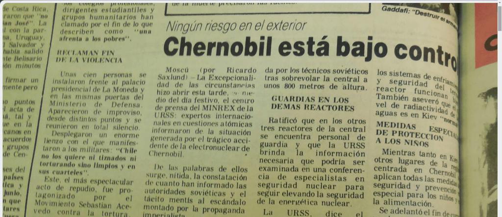 Chernóbil, una de las mayores catástrofes nucleares de la historia: lo que decía el PCU por Antonio Ladra